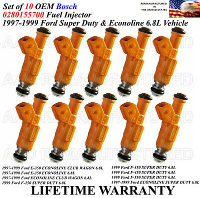 USA Re-manufactured OEM Fuel Injectors 10-piece//GENUINE Part # 0280155710 for 1997-1998-1999 Ford E-350 Econoline Clubwagon 6.8L V10
