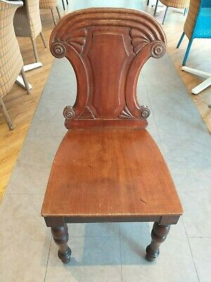 GEORGIAN regency c.1820 mahogany HALL CHAIR , carved scroll roundel back ANTIQUE