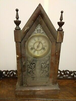ANTIQUE american NEW HAVEN mahogany mantle mantel steeple clock STAMPED ANSONIA