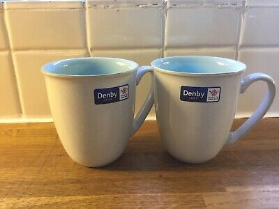 Denby - Blends Azure- Coffee Beaker/Mug x 2 - 1st Quality - BRAND NEW