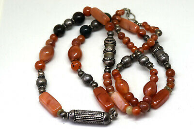 "Antique Middle Eastern 900 Silver With Carnelian Beads Necklace 32"" Long"