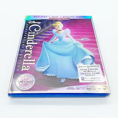 Cinderella Anniversary Edition Blu-Ray / DVD Set with Slipcover No Digital Code