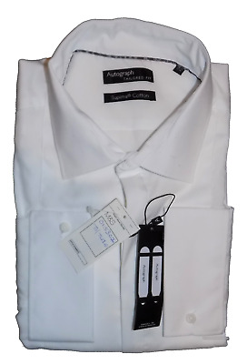 M&S Autograph Luxury Supima Cotton White Tailored Fit Shirt Cost 35 17.5 44/45