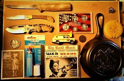 13 Item Vintage JUNK DRAWER LOT 90% Silver Proof Coins Knives Jade Iron Skillet