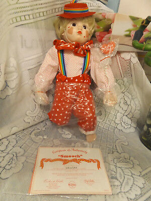 LOVELY VINTAGE SMOOCH 34 cm PORCELAIN CLOWN DOLL &  FREE DOLL.