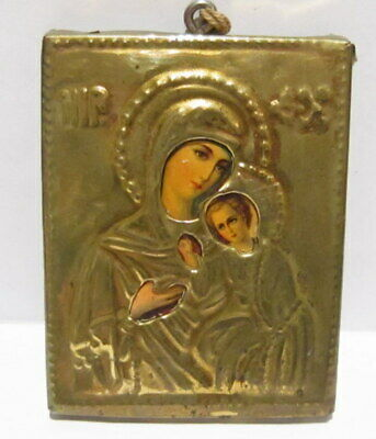 Amazing Antique Early 1900 Russian Orthodox Bronze Virgin Mary Icon # 400