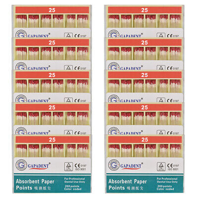 10Packs Absorbent Paper Points Root Canal Endo Cotton Fiber 0.02 25# CE Dental