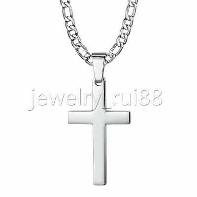 "Mens Silver Cross Pendant Necklace Stainless Steel Figaro Chain Necklace 18""-30"""