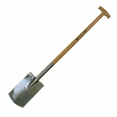 Xclou 341102 Double-Spring Spade for Gardening Stainless Steel Ash T-Handle