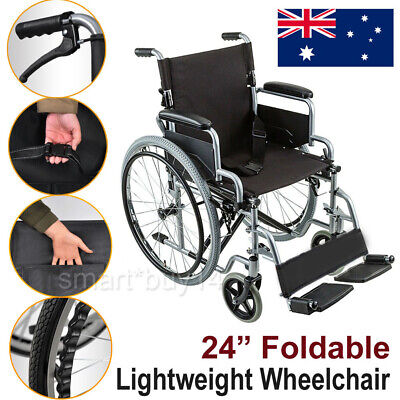 NEW Folding Wheelchair Light Weight Manual Mobility Walking Aid Park Brakes OZ