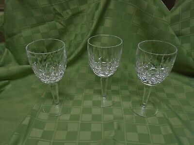 "Set of 3 Waterford Crystal KILDARE 7"" Water Wine Goblets Early Mark Glasses-MINT"