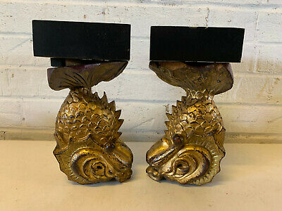 Antique Chinese Qing / Republic Gilt Wood Pair of Dragon Fish Architectural