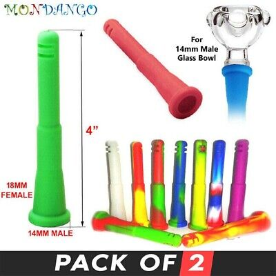 "4"" 14mm Female To 18mm Male Silicone Downstem Adapter For Water Pipe Bubbler"