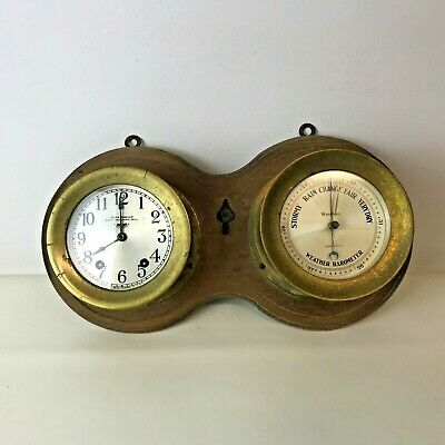 Seth Thomas Brass Seven Jeweled Eight Day Ship Clock Waterbury Weather Barometer