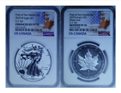 2019-W Pride of Two Nations Limited Edition 2 Coin US Set - NGC PF70