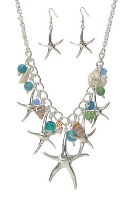 Starfish and Shell Statement Necklace and Earring set Fashion Beach Jewelry