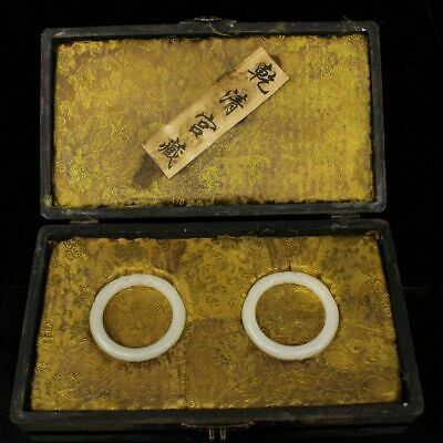 Chinese old antique white jade carved dragon Bracelet A pair with wood box