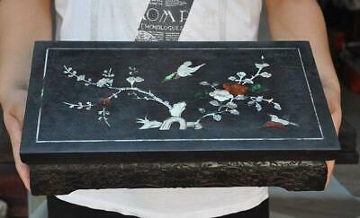 China Rosewood wood Inlay shell flower bird Tea Tables Desk writing desk statue