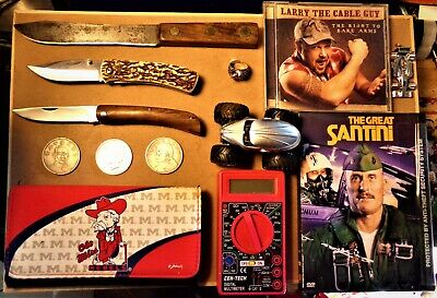 "13 Item Vintage ""JUNK DRAWER LOT"" 90% Silver U.S. Peace Dollar Knives Coins HW"
