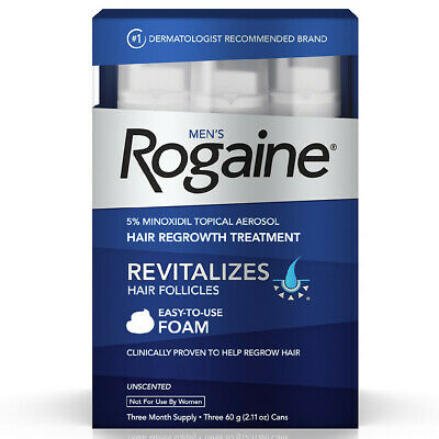 Rogaine Mens 5% Minoxidil Foam Hair Regrowth 3 Month Supply Exp 9/19 Unscented
