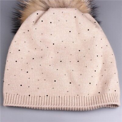 Knitted Winter Hat for Women Warm Wool Beanie Hat Raccoon Fur Pom Poms Thick Cap
