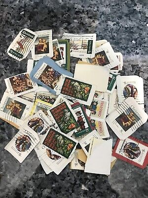 Collection of US Stamps, Christmas unpicked unsorted, mostly on paper, over 40+