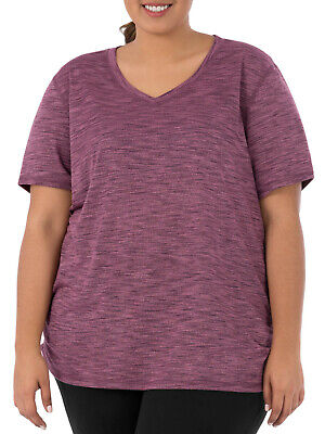 Terra & Sky Women's Plus Size Casual Shirred Short Sleeve Tee Burgundy/Rose Herb