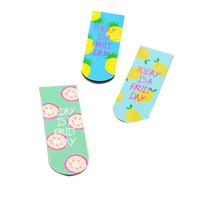 3 Pcs Kawaii Cute Fruit Ice Cream Magnetic Bookmarks Books Marker Of Page S V3R7
