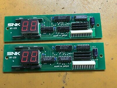 NOS 2x MVS Neo Geo SNK MV-LED PCB Credit Coin Display Arcade Parts Tested Work
