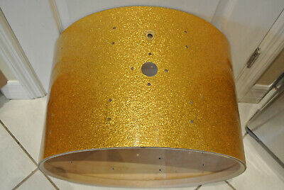 """1961 Ludwig Drum Co. 22"""" GOLD SPARKLE BASS DRUM SHELL for YOUR DRUM SET! Z817"""