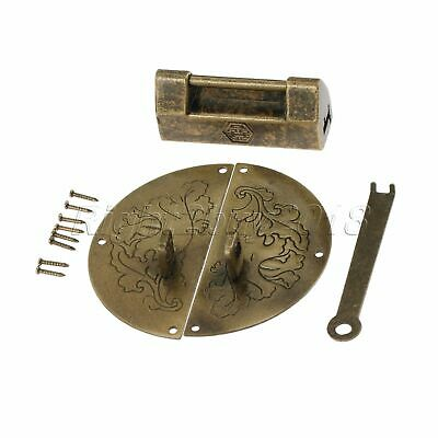 Drawer Cabinet Hardware Round Carved Flower Box Latch Catch Hasp & Padlock Set