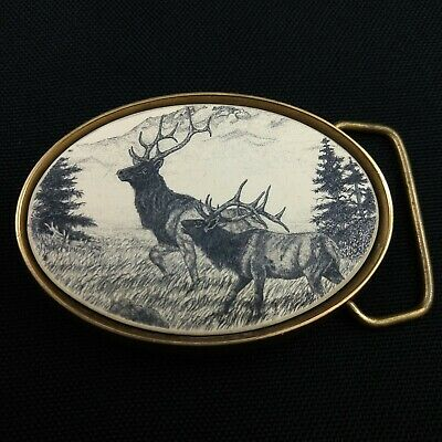 Vintage Elk Belt Buckle Scrimshaw Deer Hunting Buckle