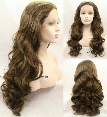 """AU 24"""" Light Brown Handtied Lace Front Wig Synthetic Fiber Hair Long Curly Wavy"""