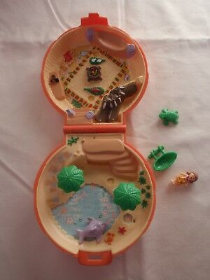 "Vintage Polly Pocket Bluebird ""Palm Tree Island"" Compact 3 Orig.figures Complete"