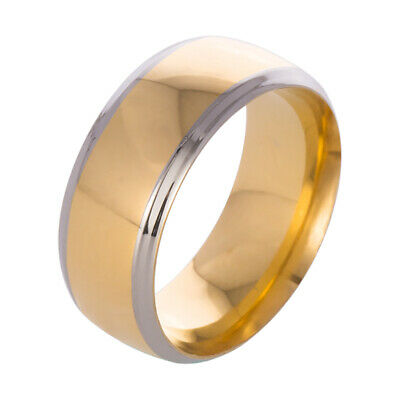 8mm Titanium Ring Wedding Band Stainless Steel Gothic Men 's Solid Gold Size7 FS