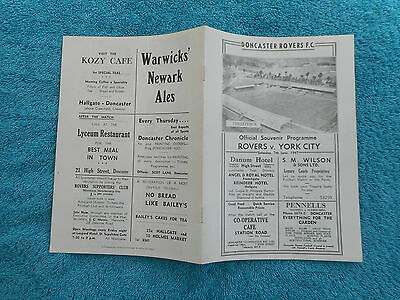 Replica  Football Programme 1947 Doncaster Rovers V York City