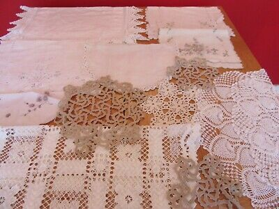 Job lot 5 Vintage Doilies  CROCHET LACE WHITE CREAM COFFEE VINTAGE WEDDING /TEA