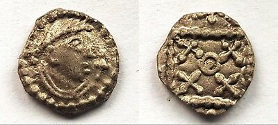 Rare Anglo-Saxon Silver Sceat. Type 21-30 Variant.  4 Saltires, No Pellets.