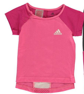 adidas Baby Girls T Shirt pink casual short sleeve top size 18-24 months *REF47