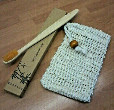 Soap Saver Pouche Bag Bath Shower Natural Sisal Bamboo Toothbrush UK Recyclable