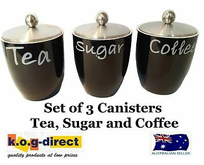Set Of 3 Canister Set Tea Coffee And Sugar Black With Stainless Steel Lid Hw-14