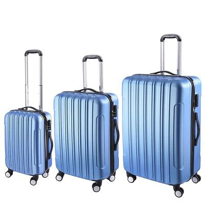 3pcs Luggage Suitcase Trolley Set Lightweight Lock Carry On Bag Hard Case Blue
