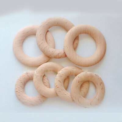 20Pcs Natural Wooden Baby Teether Ring Safety Wood Jewellery Craft Fuctional