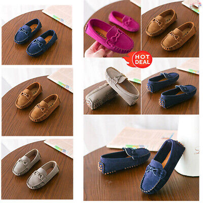 UK Boys Girls Leather Slip On Flat Loafers Moccasins Kids Casual Boat Shoes Size