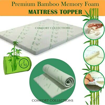 New 1 / 2 inch Bamboo Memory Foam Bed Mattress Topper Protector Orthopedic Soft