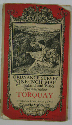 1932 Old OS Ordnance Survey One-Inch Fifth Relief Edition Map 145 Torquay