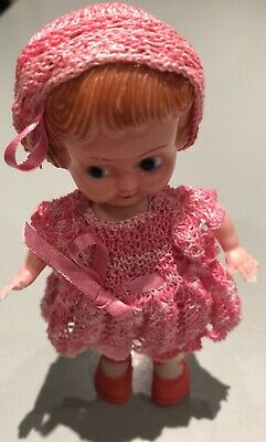 Vintage Evergreen Hard Plastic Doll 15cm Molded Hair Hand Knitted Clothes