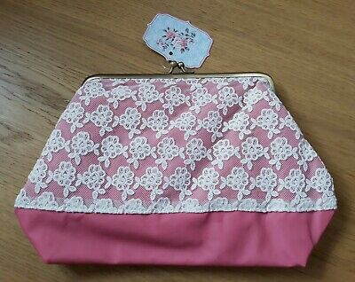 Make Up Bag - Vintage Retro Chic - Pink And Floral Lace Cosmetic Bag