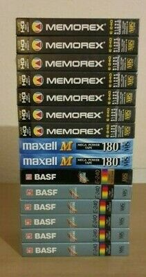 15x Blank VHS Cassettes New and Sealed Memorex Maxell Memorex 240/180