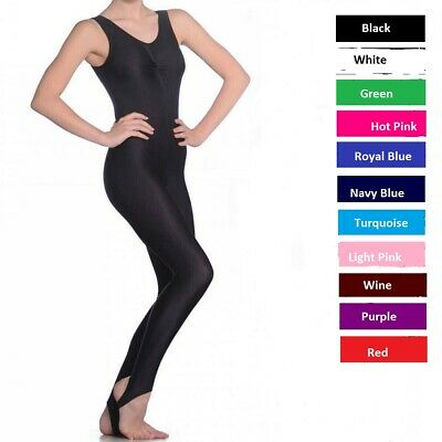 Girls Sleeveless Dance, Ballet, Gymnastics Nylon Lycra Kids Stirrup Foot Catsuit